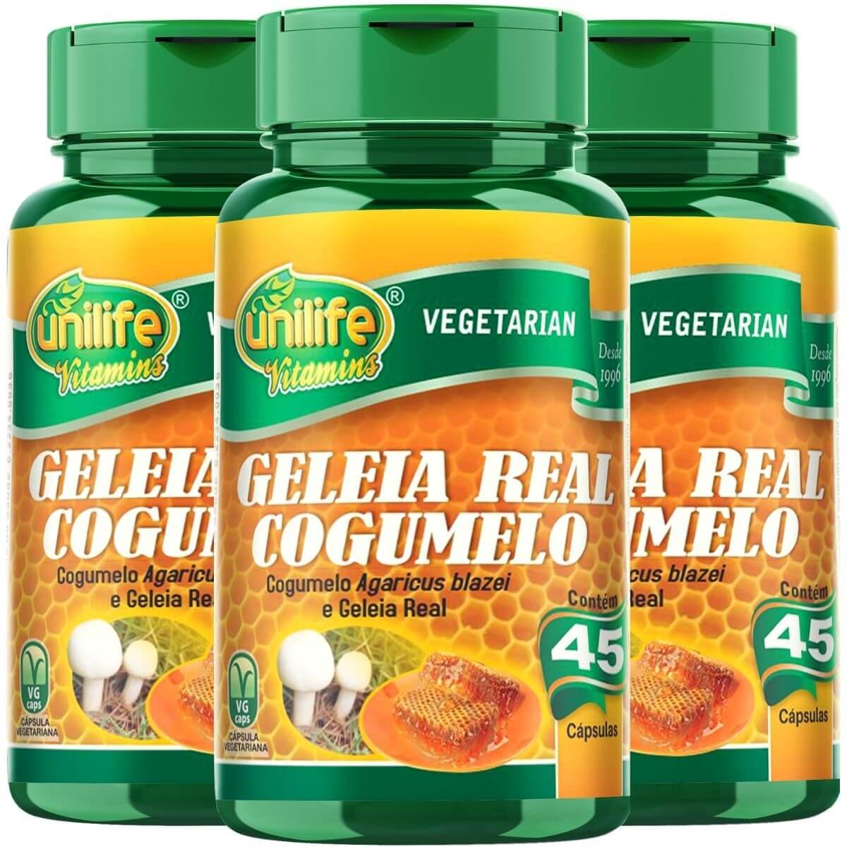 Kit 3 Geleia Real Cogumelo Unilife - 45 Cápsulas 780 mg