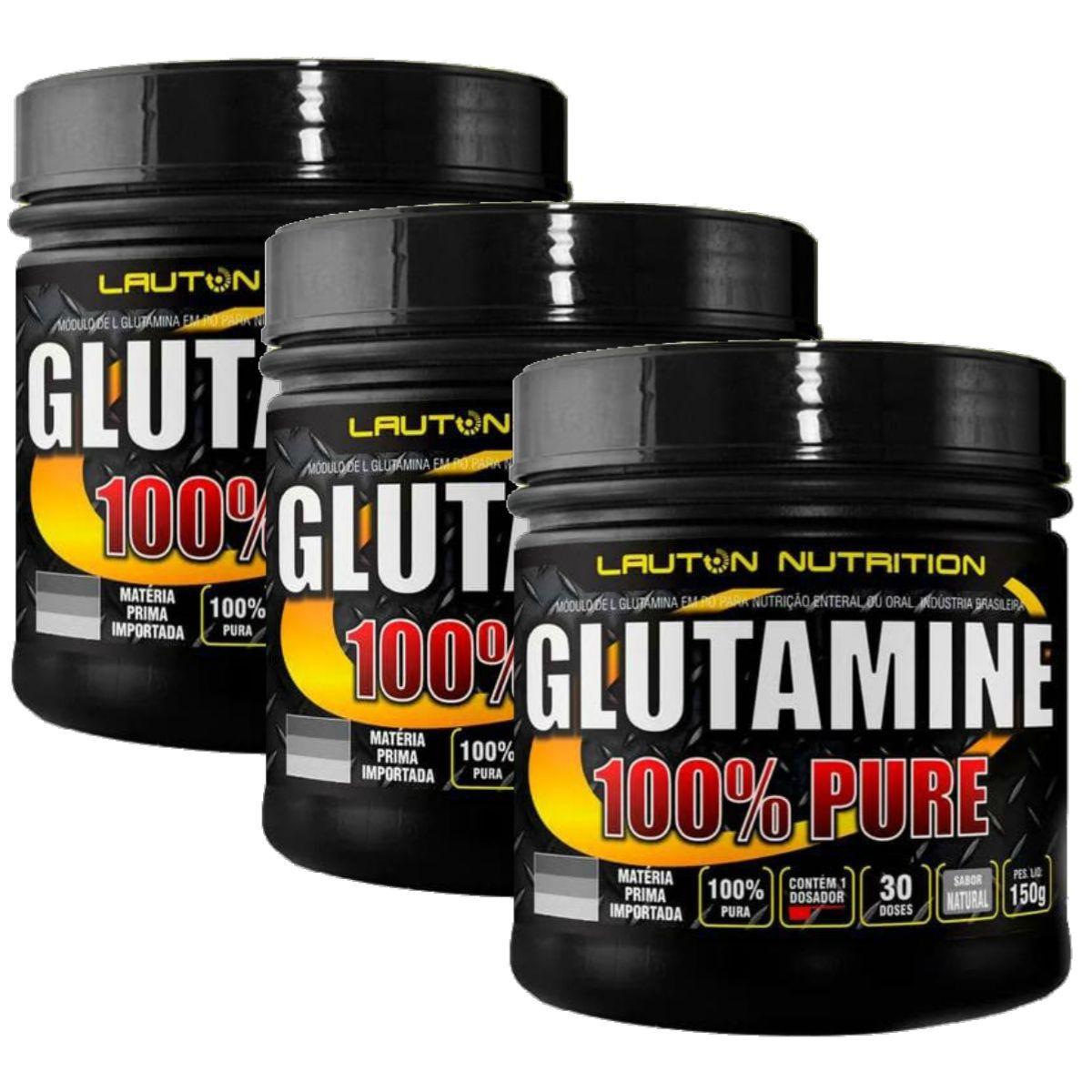 Kit 3 Glutamina Power 100% Pura 150g - Lauton Nutrition