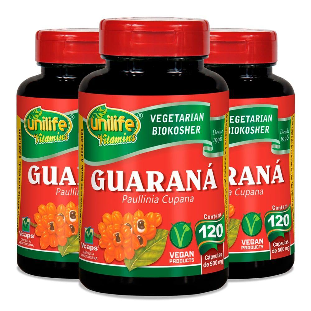 Kit 3 Guaraná em Cápsulas Unilife - 500mg 120 Cáps