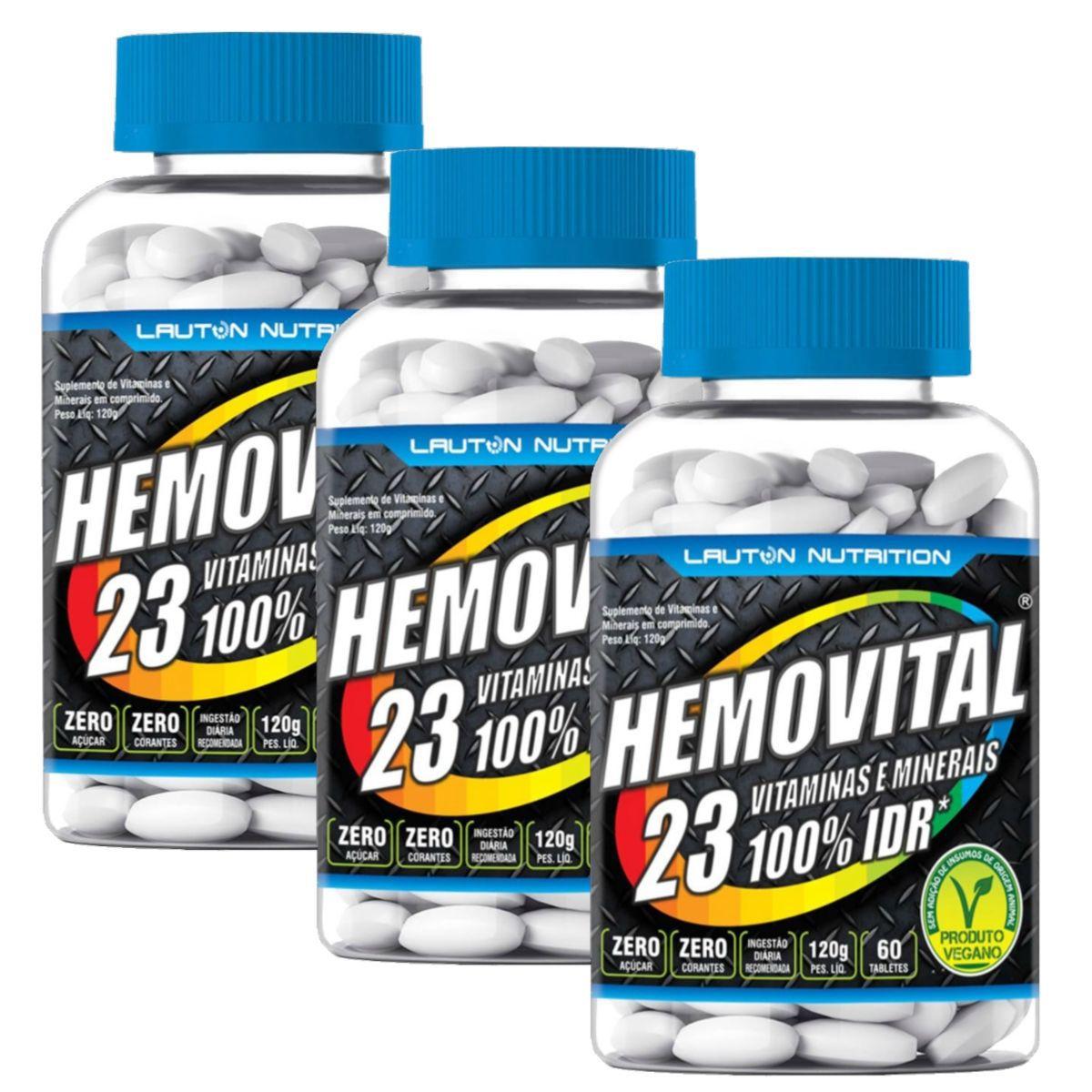 Kit 3 Hemovital Polivitamínico 60 Tabs - Lauton Nutrition