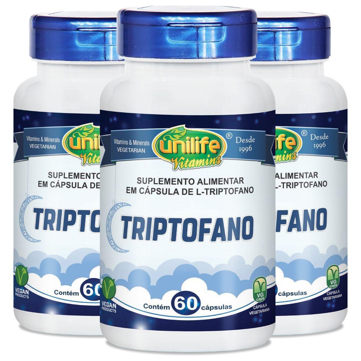 Kit 3 L-Triptofano 300mg 60 Cápsulas - Unilife