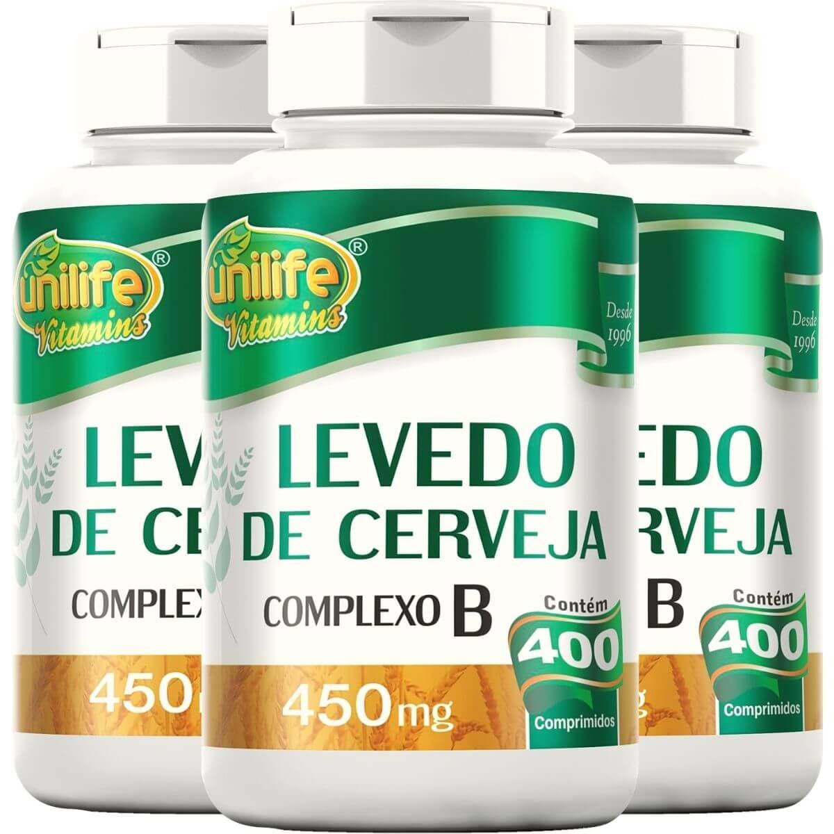 Kit 3 Levedo de Cerveja 400 Comprimidos 450mg - Unilife