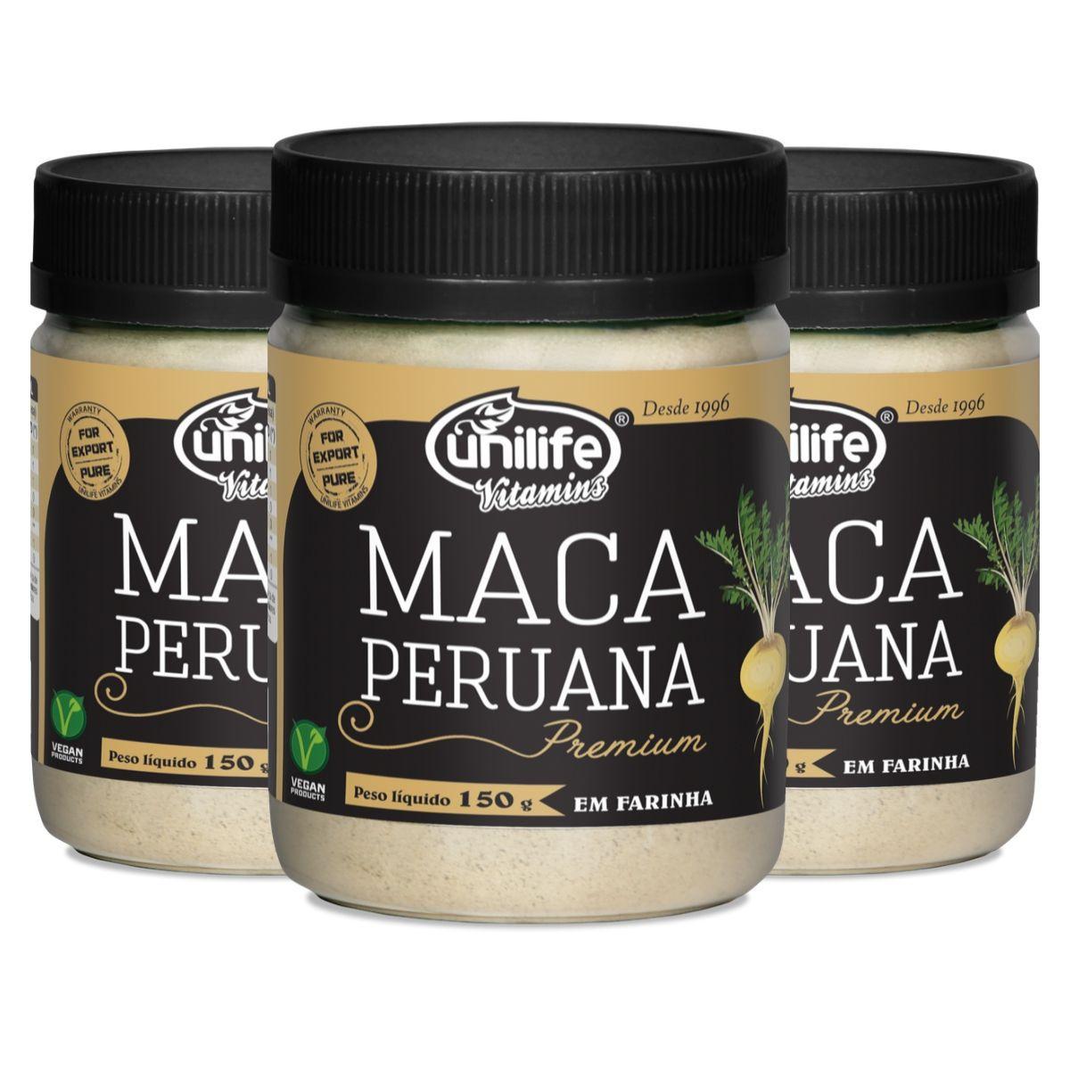 Kit 3 Maca Peruana Premium Em Pó 150g - Unilife