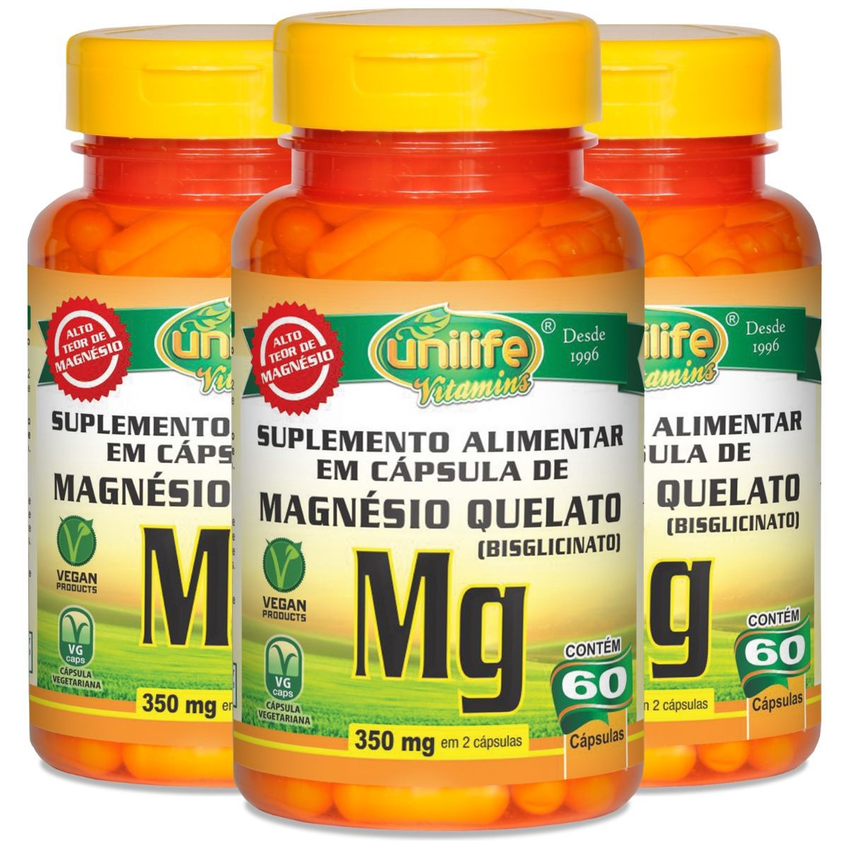 Kit 3 Magnésio Quelato 700mg 60 Cápsulas - Unilife