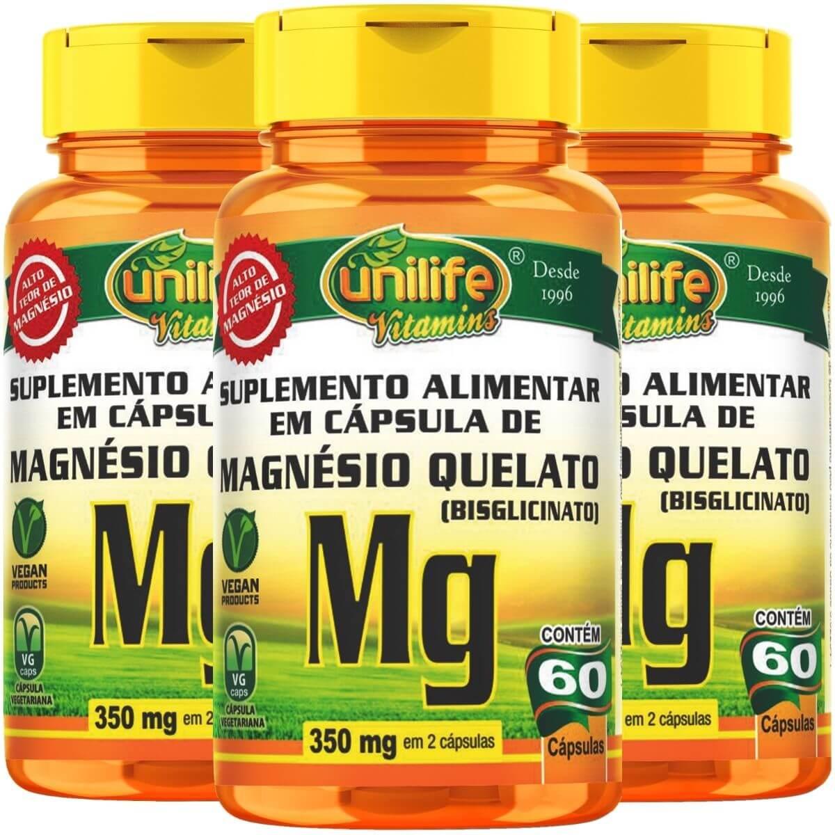 Kit 3 Magnésio Quelato 700mg 60 Cápsulas - Unilife