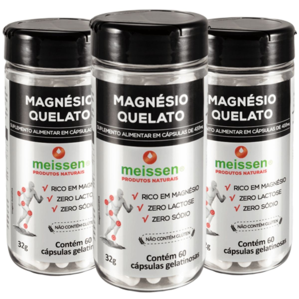 Kit 3 Magnésio Quelato Meissen - 433 Mg 60 Cápsulas