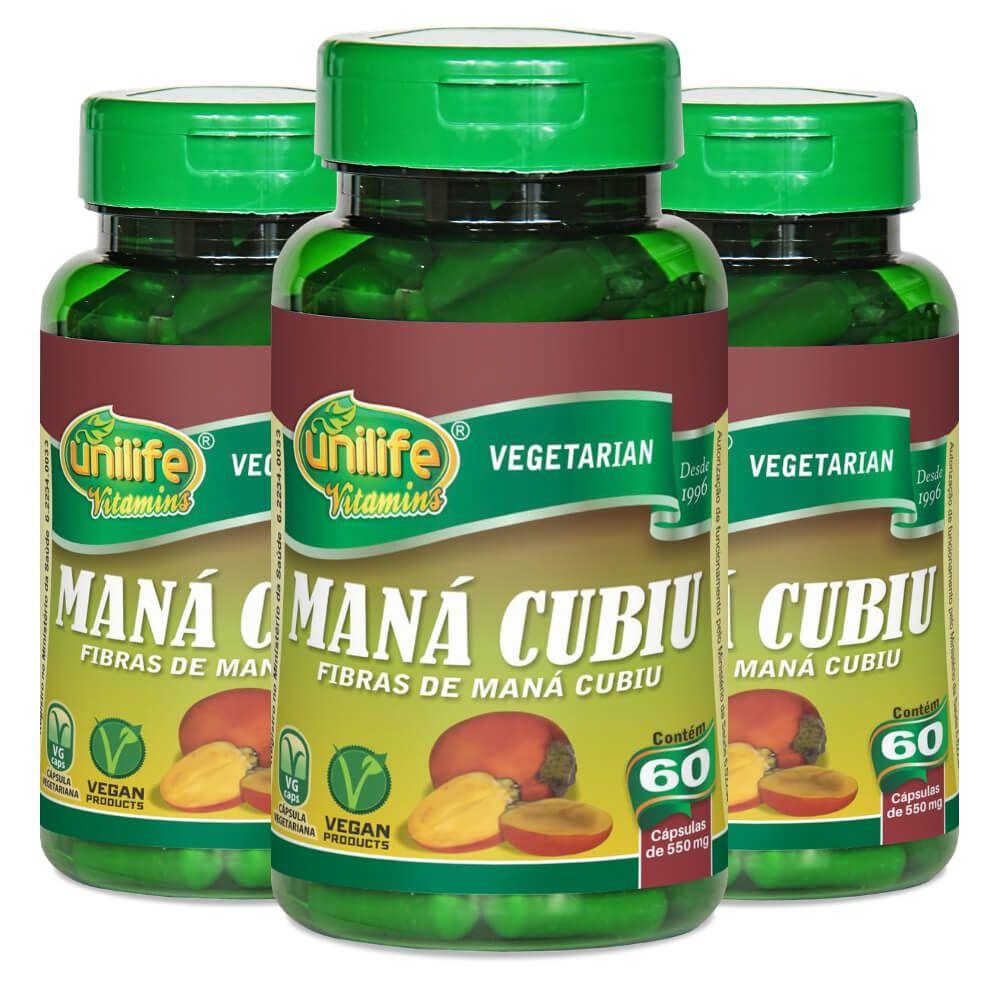 Kit 3 Maná Cubiu Unilife - 60 Cápsulas 550mg