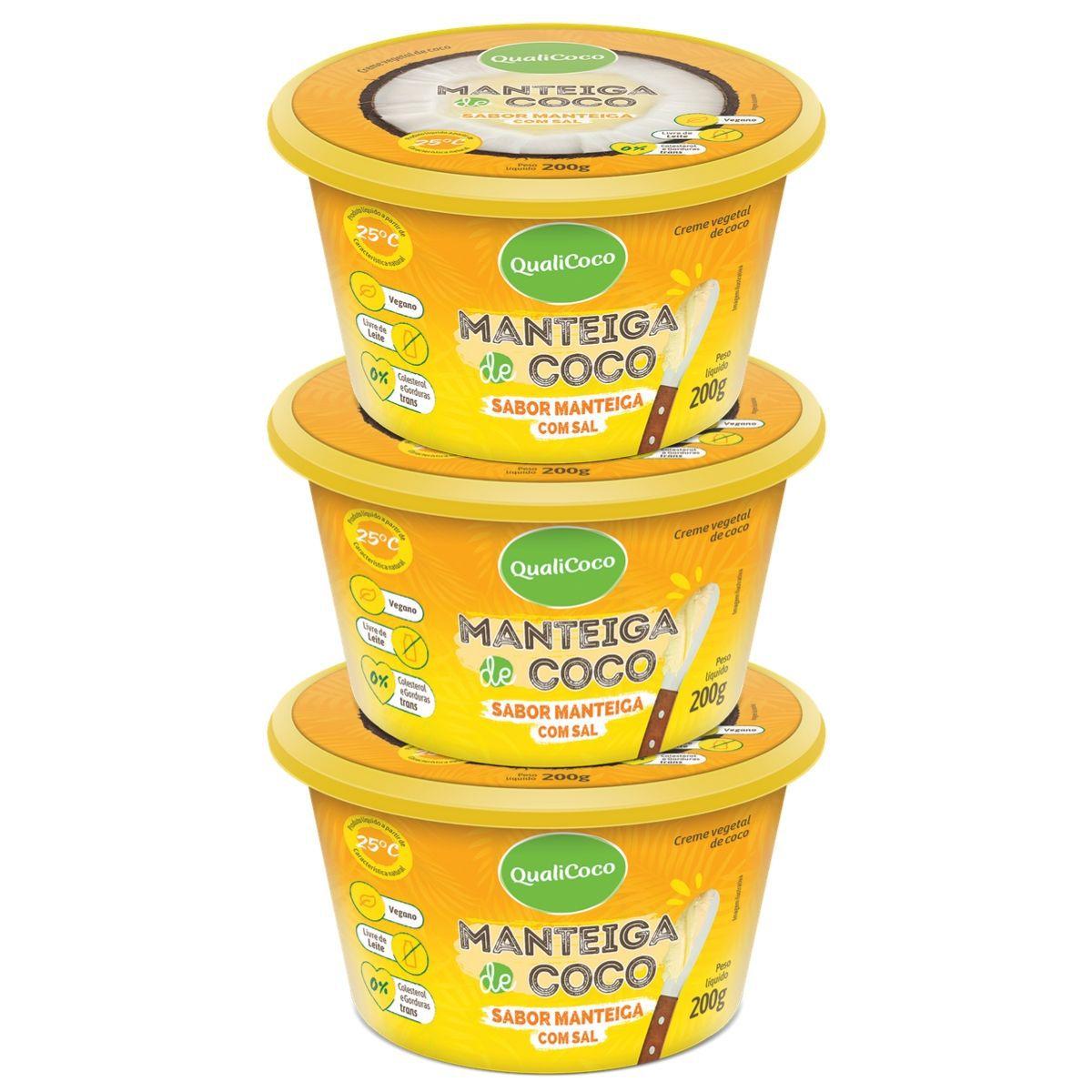 Kit 3 Manteigas De Coco C/ Sal Sabor Manteiga 200g - QualiCôco