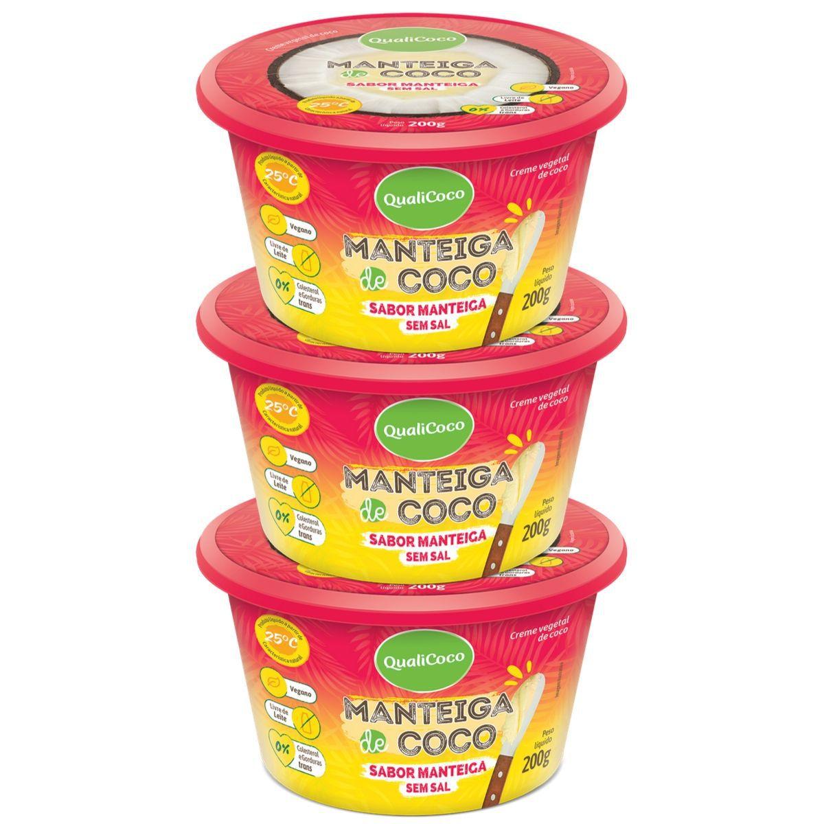 Kit 3 Manteigas De Coco Sem Sal Sabor Manteiga 200g - QualiCôco