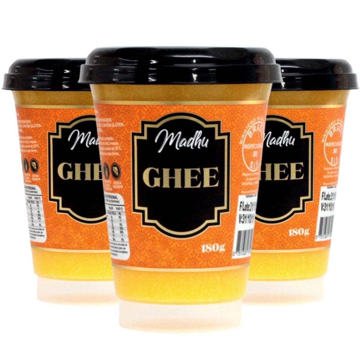 Kit 3 Manteigas Ghee Tradicional Clarificada 180g - Madhu Bakery