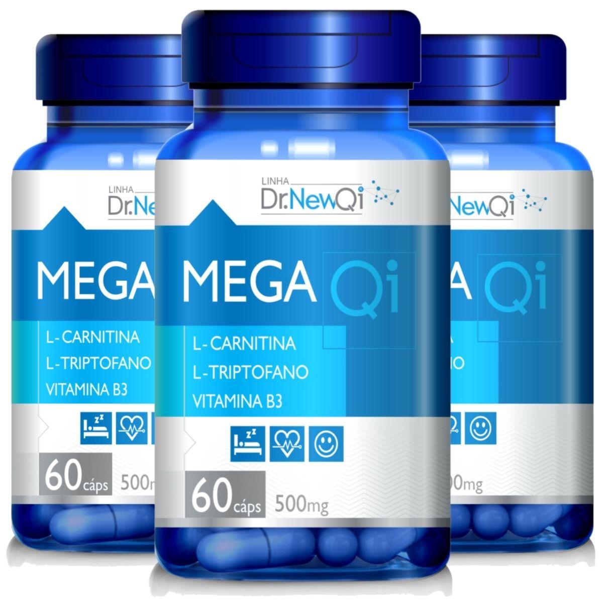Kit 3 Mega QI L-Triptofano + L-Carnitina + Vit. B3 500mg 60 Cápsulas - Upnutri