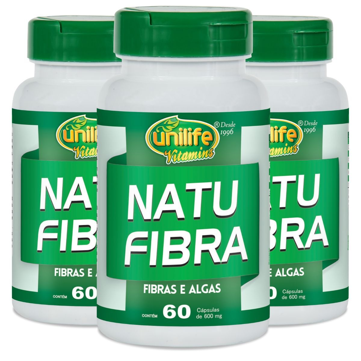 Kit 3 Natu Fibra Unilife Fibras e Algas - 600 Mg 60 cápsulas