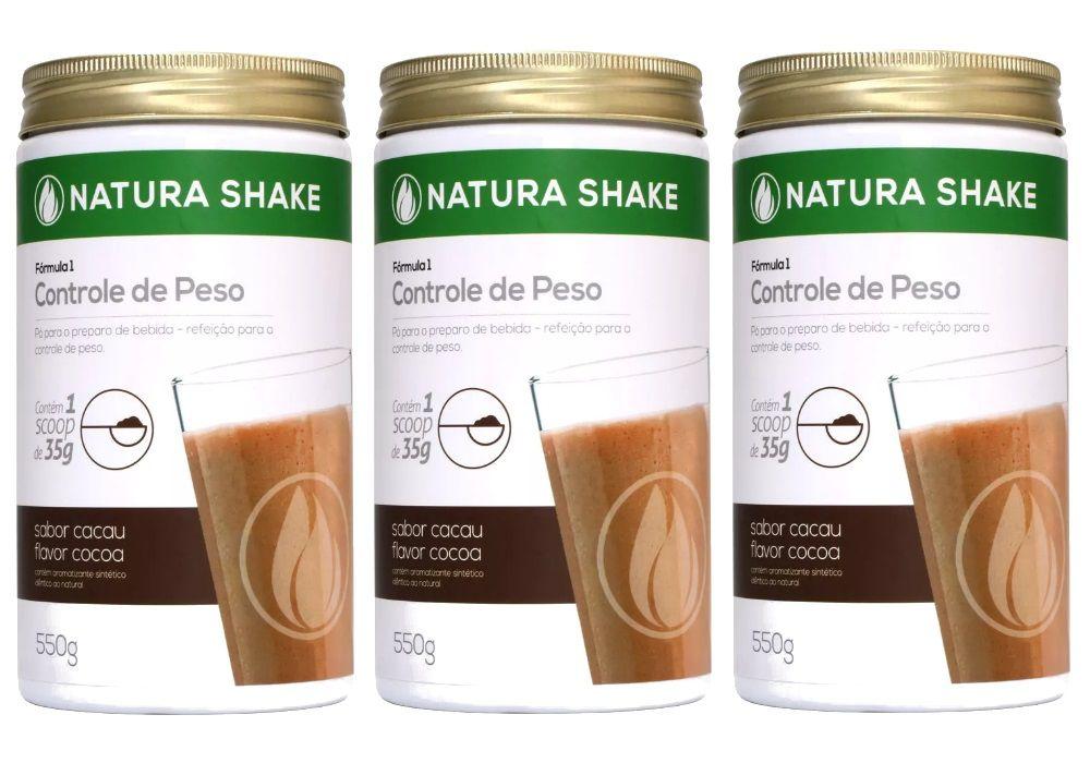 Kit 3 Natura Shake Sabor Cacau 550g - Ideal Para Dieta