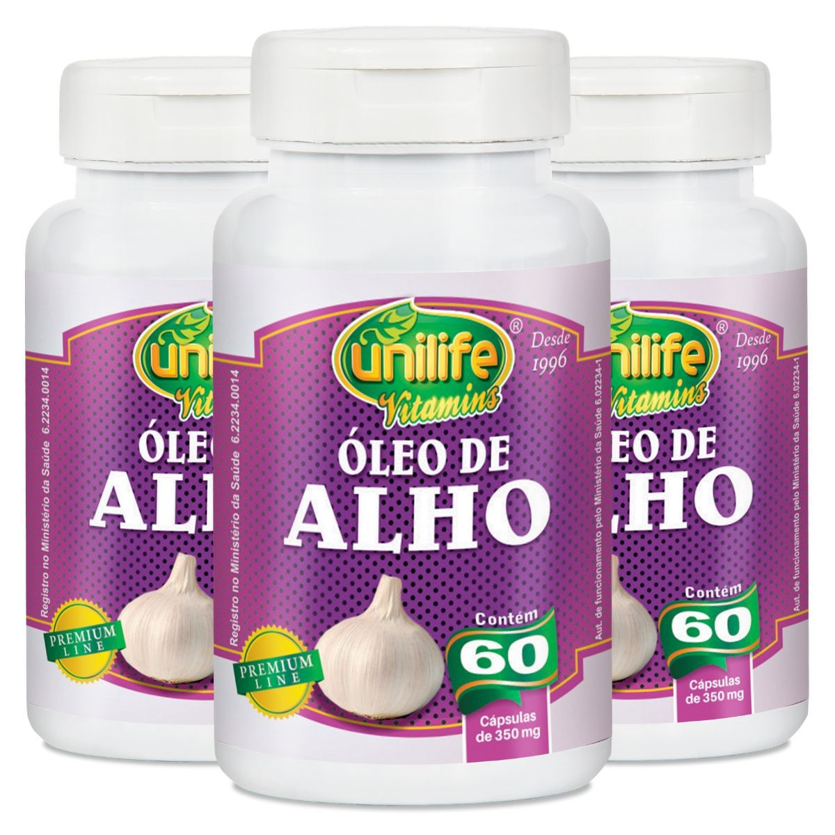 Kit 3 Óleo de Alho 60 Cápsulas 350 mg - Unilife