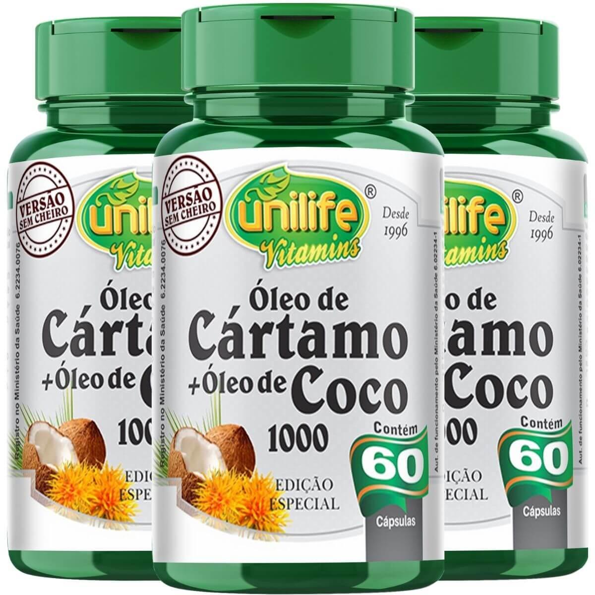 Kit 3 Óleo De Cártamo + Óleo De Coco Edição Especial 1200mg 60 Capsulas  - Unilife