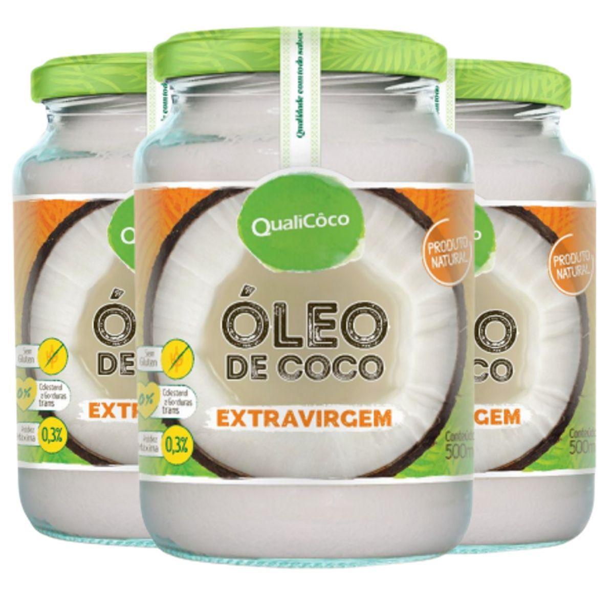 Kit 3 Óleo de Coco Extra Virgem Prensado A Frio Puro 100% Natural 500ml - Qualicoco