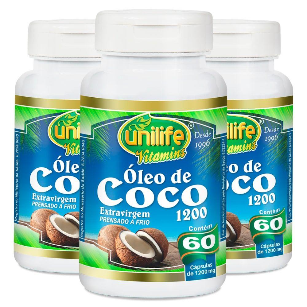 Kit 3 Óleo de Coco Extra Virgem Unilife - 60 Cáps 1200mg