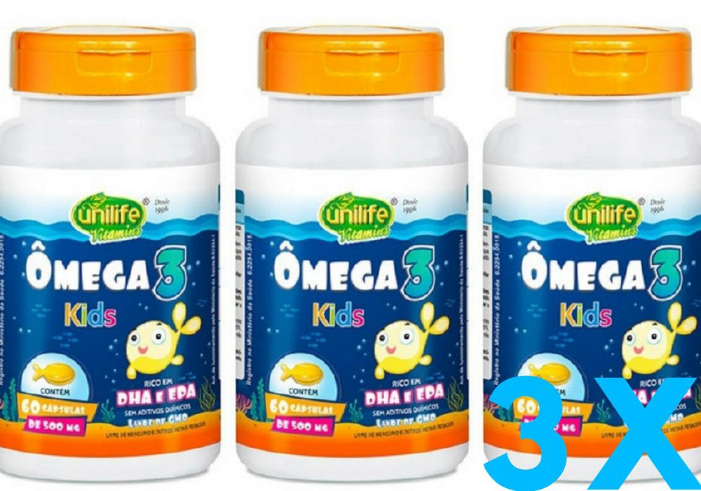Kit 3 Ômega 3 Kids Unilife 60 Cápsulas 500mg