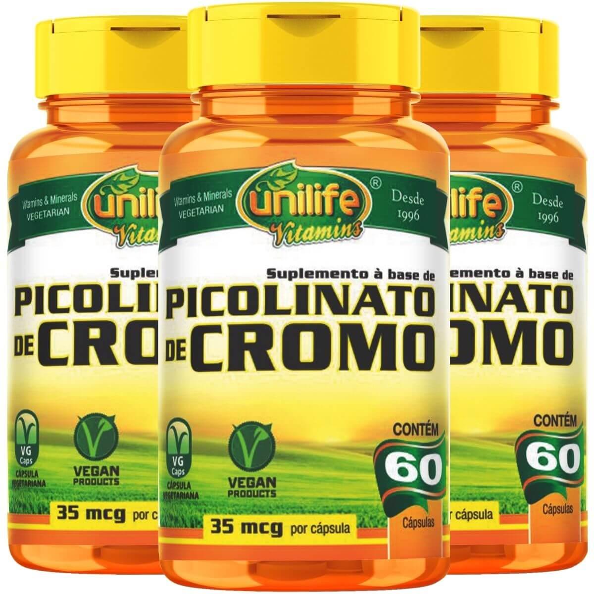 Kit 3 Picolinato De Cromo 500mg 60 Cápsulas - Unilife