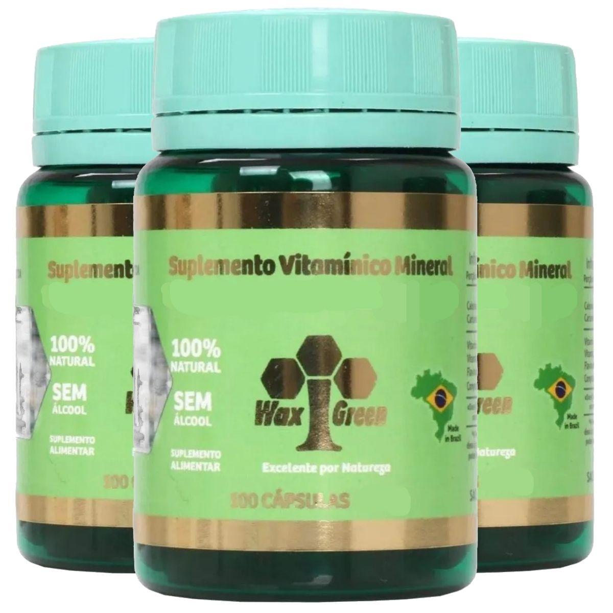 Kit 3 Própolis Verde 80% + Ômega 3 100 cápsulas 300mg - Wax Green