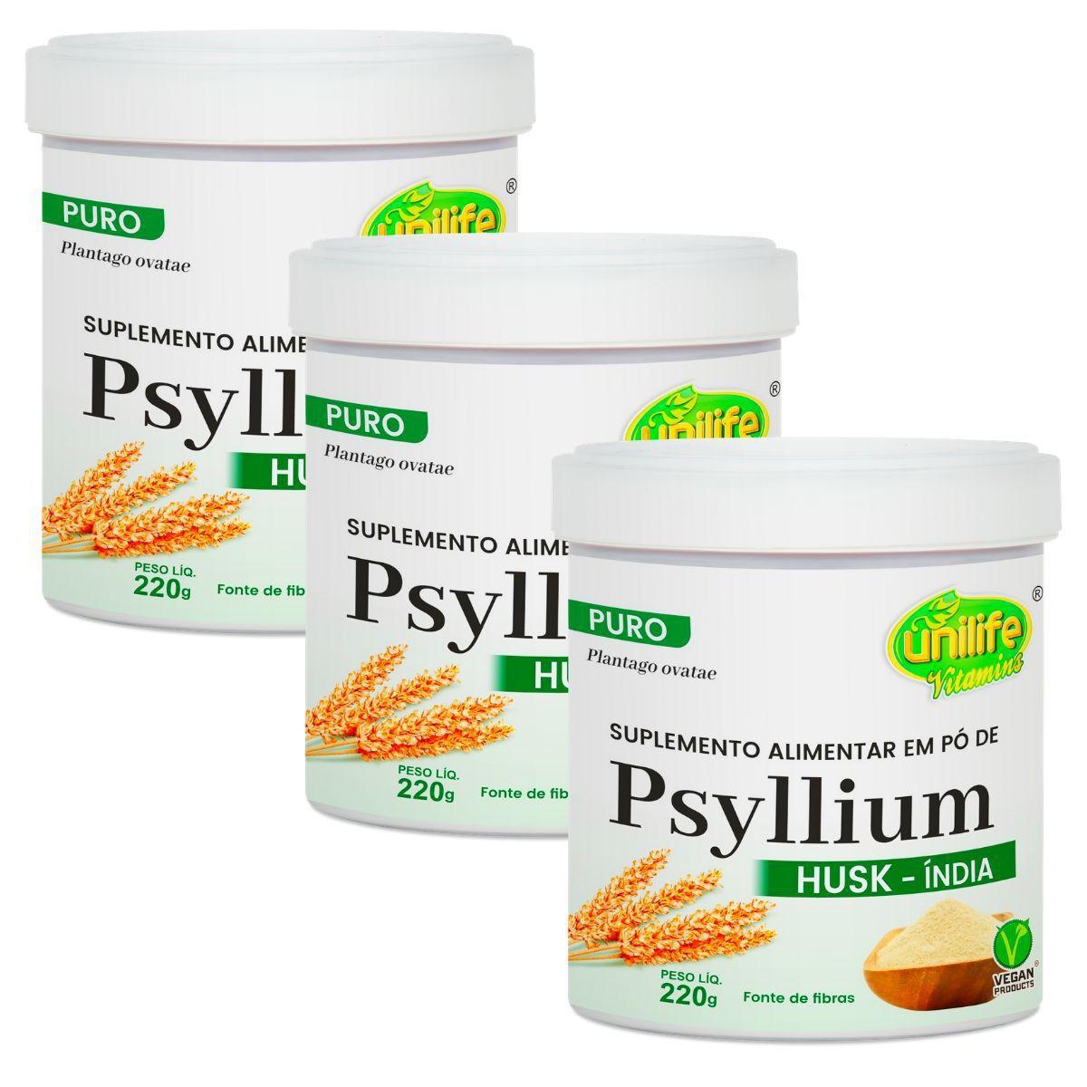 Kit 3 Psyllium Husk Em Pó 220g - Unilife