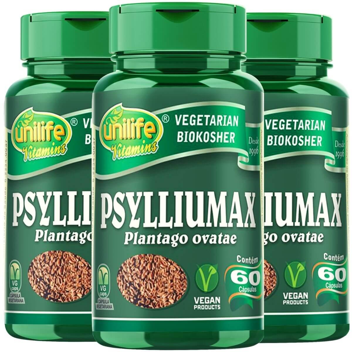 Kit 3 Psylliumax - Psyllium 550mg 60 Cápsulas - Unilife