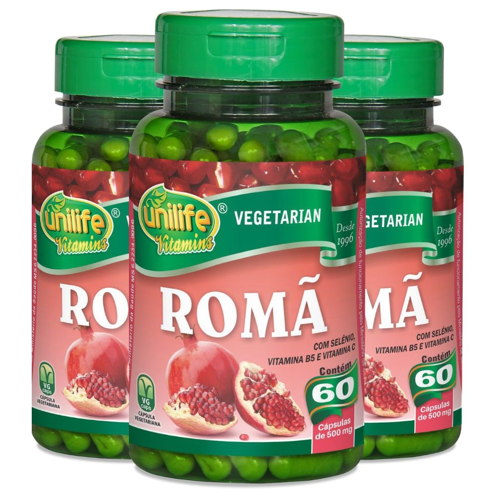 Kit 3 Romã C/ Vitaminas Unilife - 60 Cáps 500mg