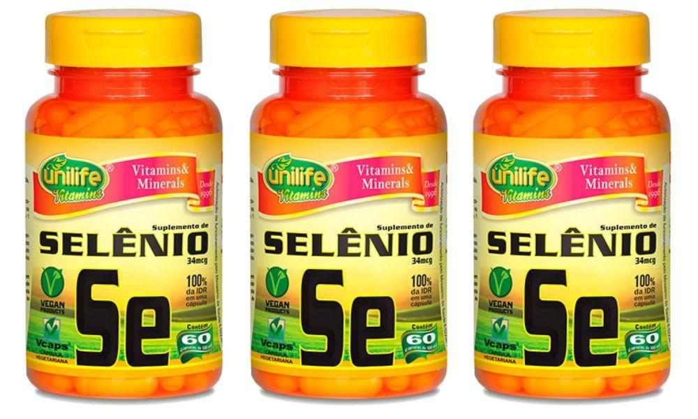 Kit 3 Selênio Quelato Se unilife - 60 Cápsulas 500mg