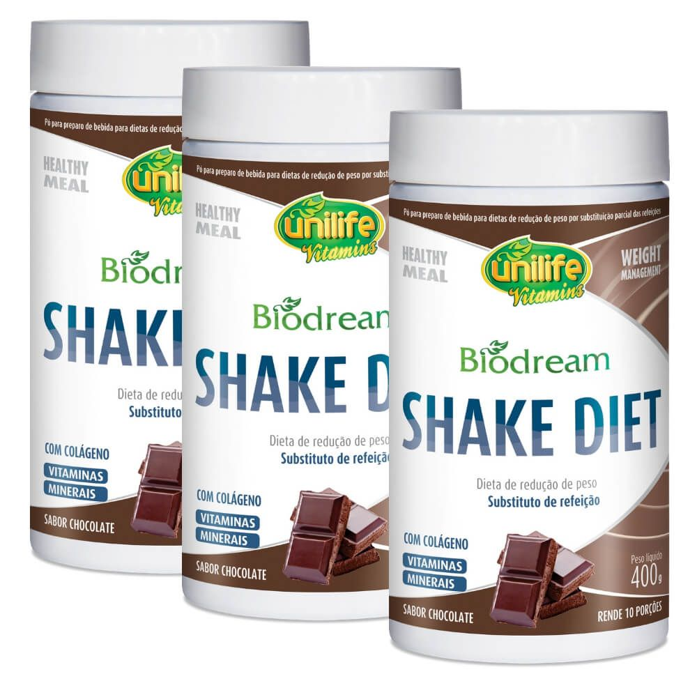 Kit 3 Shake Diet Biodream Sabor Chocolate Unilife - 400g