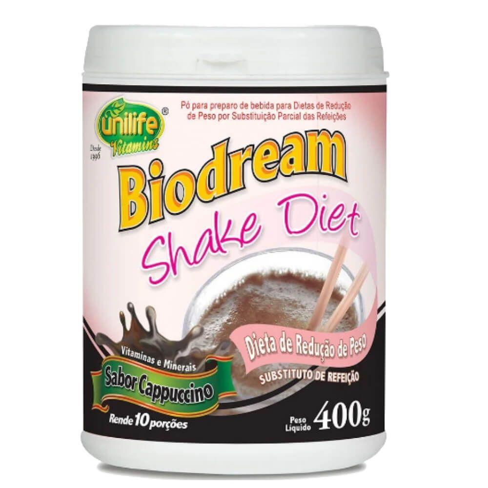 Kit 3 Shakes Diet Biodream Sabor Cappuccino Unilife - 400g