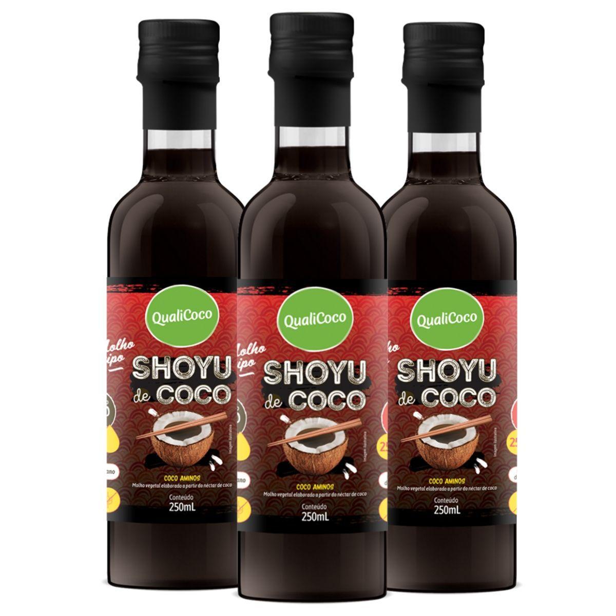Kit 3 Shoyu de Coco Aminos 100% Natural 250ml - QualiCoco