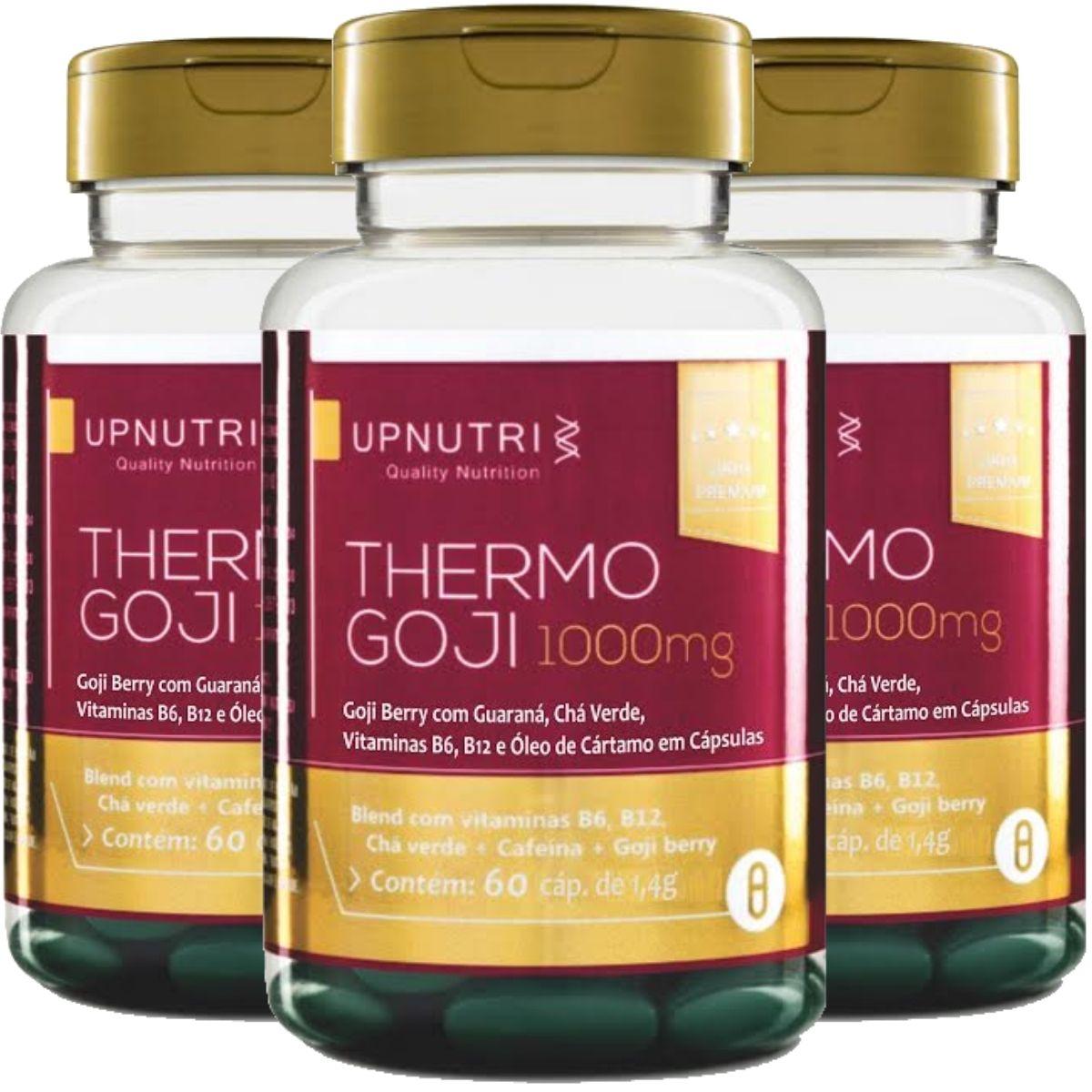 Kit 3 Termogênico Thermo Goji - Chá Verde + Cafeína + Goji Berry 60 Cáps - Upnutri
