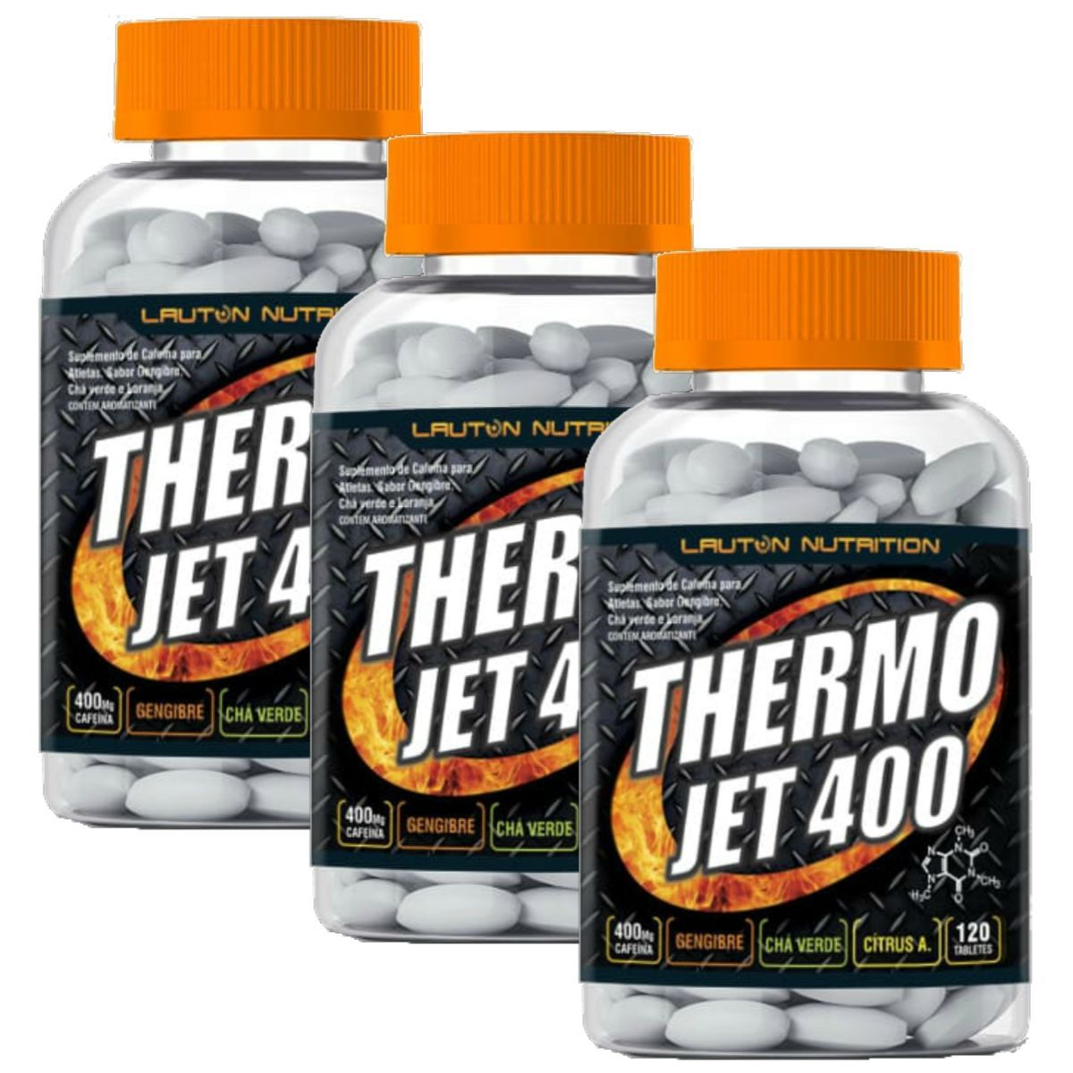 Kit 3 Thermo Jet 400 Termogênico Lauton Nutrition 120 Comp