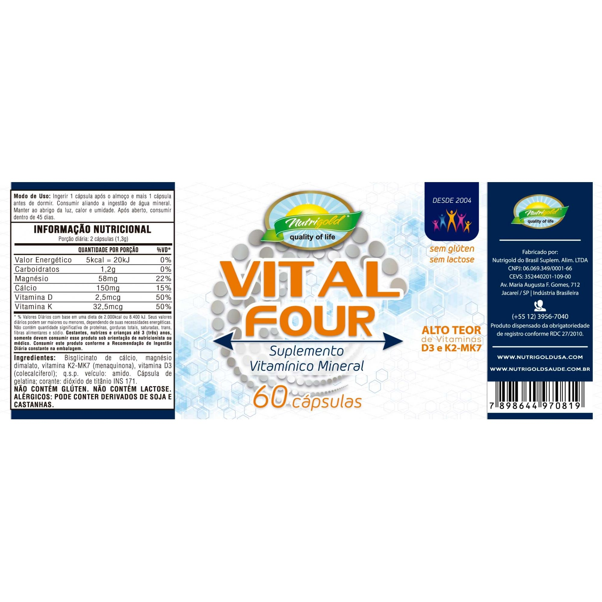 Kit 3 Vital Four - Pote 60 Cápsulas 650mg