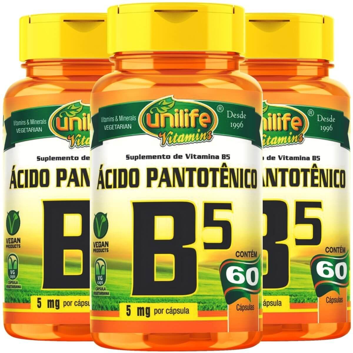 Kit 3 Vitamina B5 Ácido Pantotênico - Unilife 60 Cáps