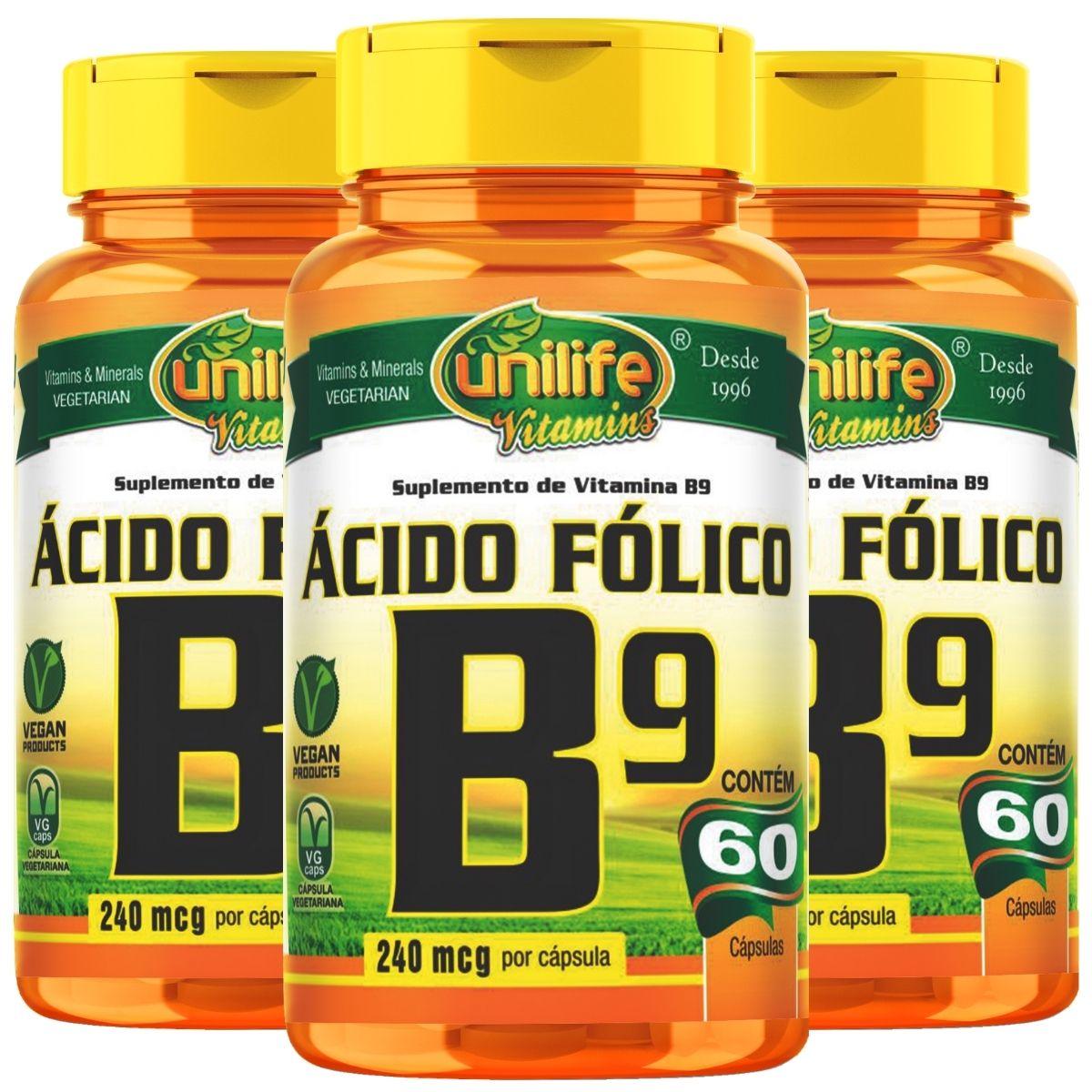 Kit 3 Vitamina B9 Ácido Fólico 60 Cápsulas 500mg - Unilife
