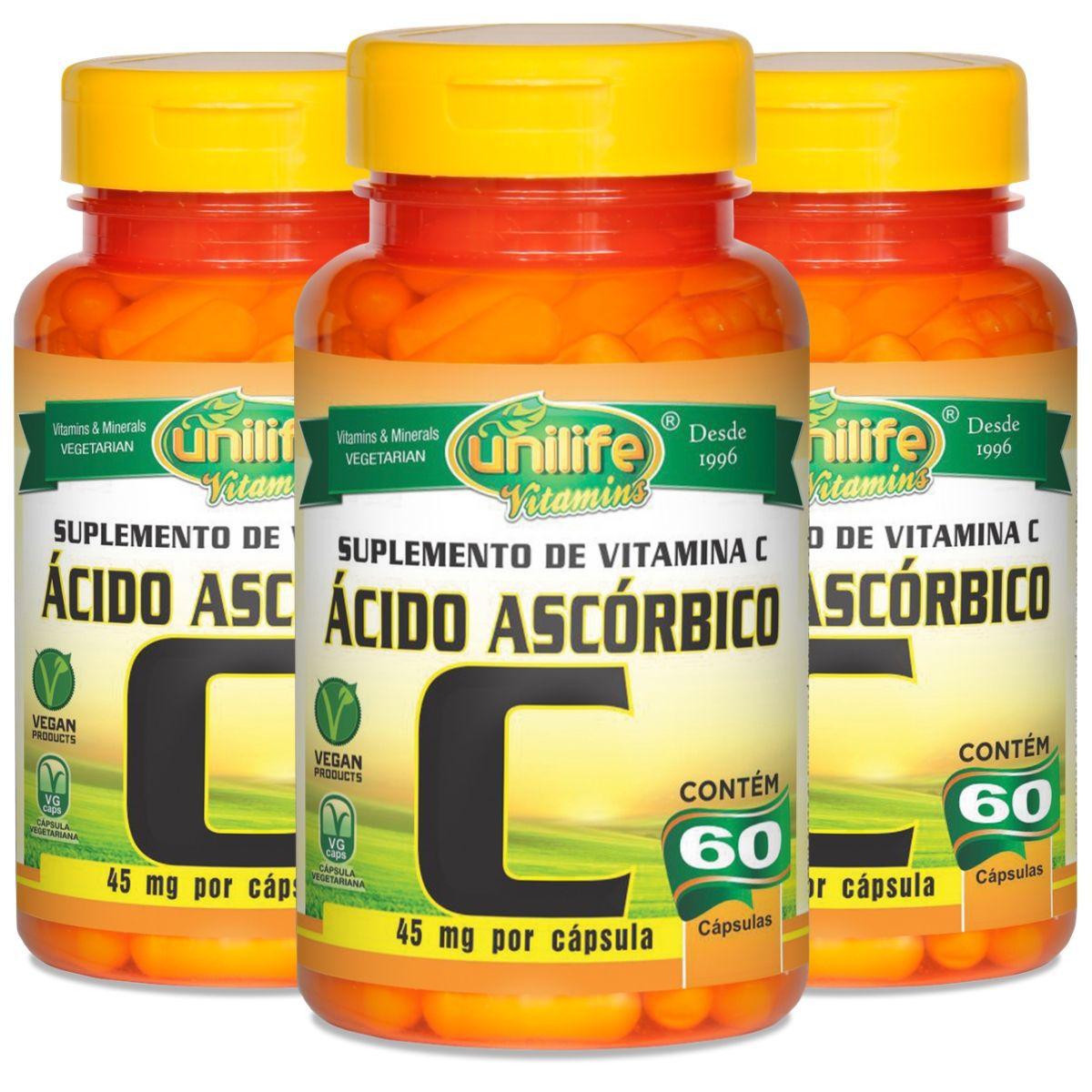 Kit 3 Vitamina C Ácido Ascórbico 500mg 60 Cáps - Unilife