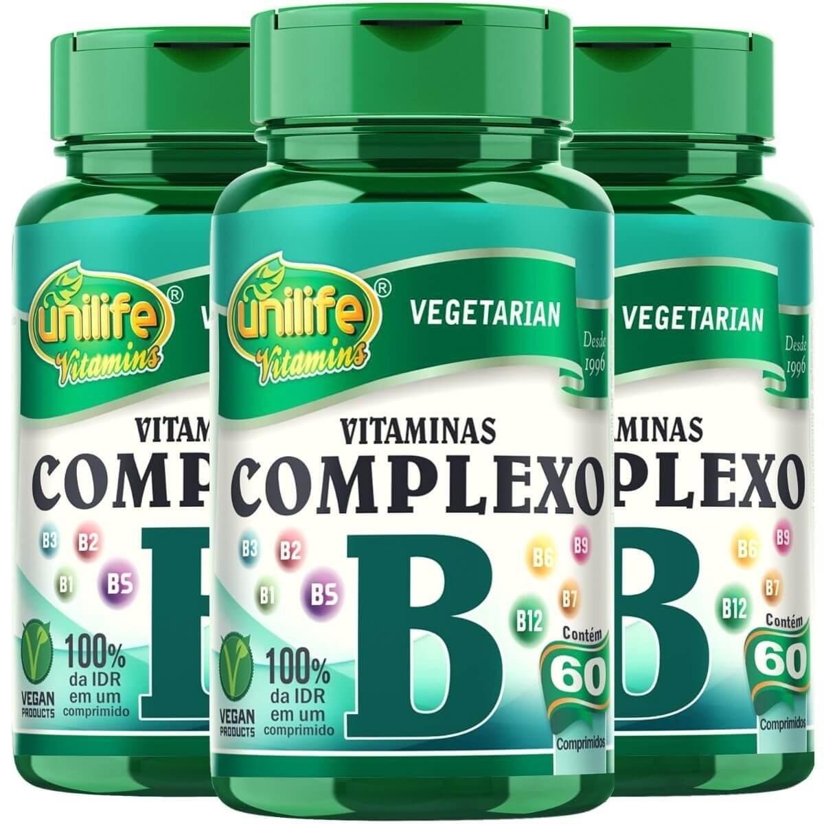 Kit 3 Vitaminas Complexo B Unilife - 60 Comprimidos 500mg