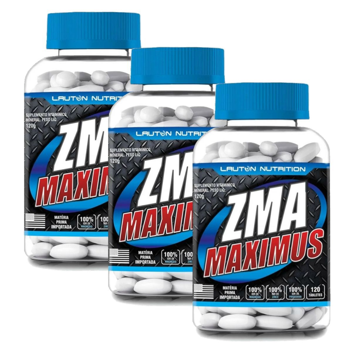 Kit 3 ZMA Maximus Lauton Nutrition - 120 Tablets 1G