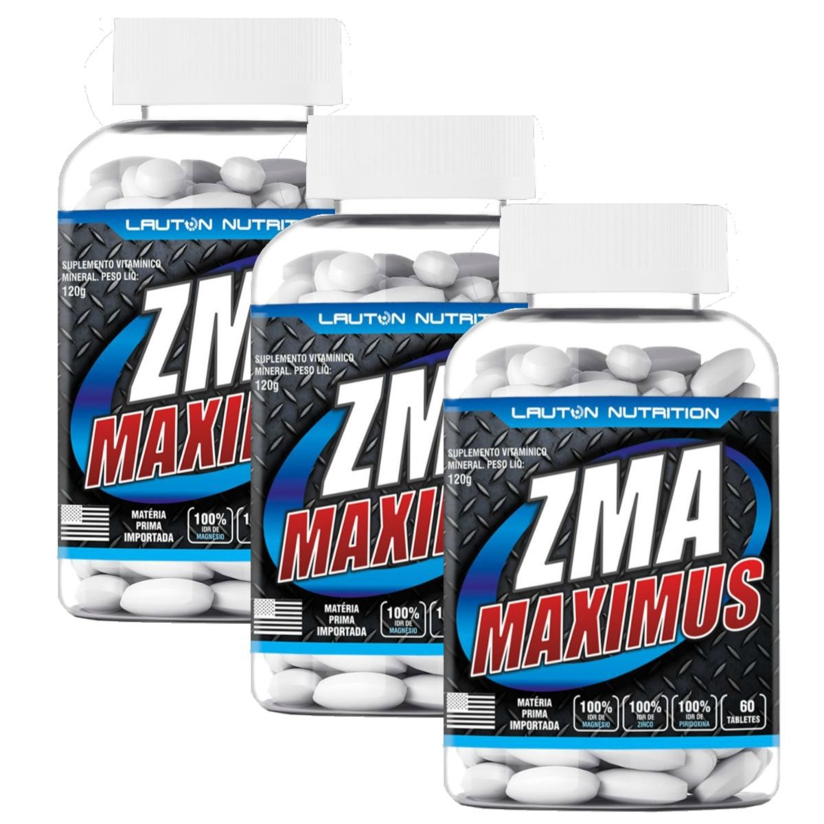 Kit 3 ZMA Maximus Lauton Nutrition - 60 Tablets 1G