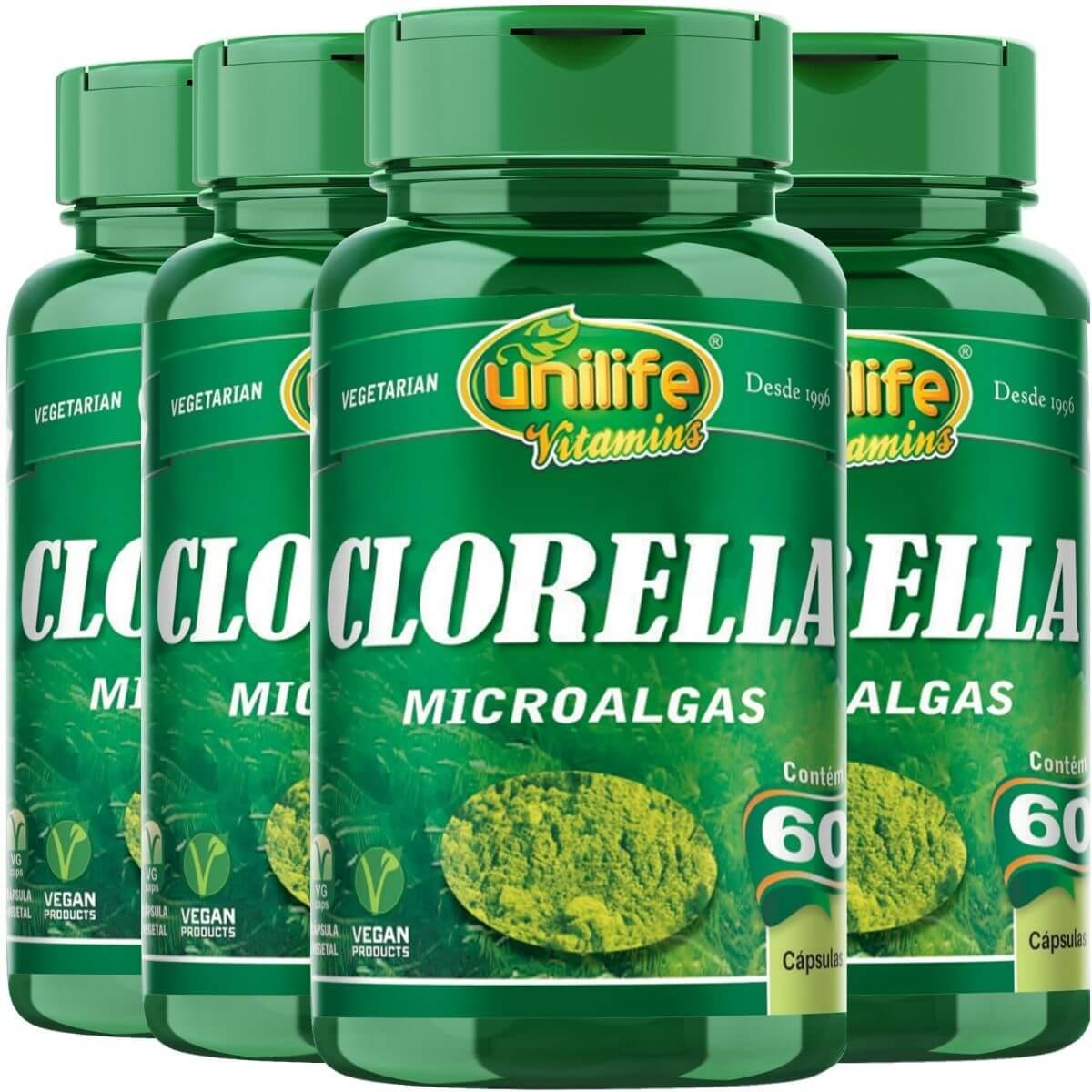 Kit 4 Chlorella Unilife 60 Cápsulas Pura