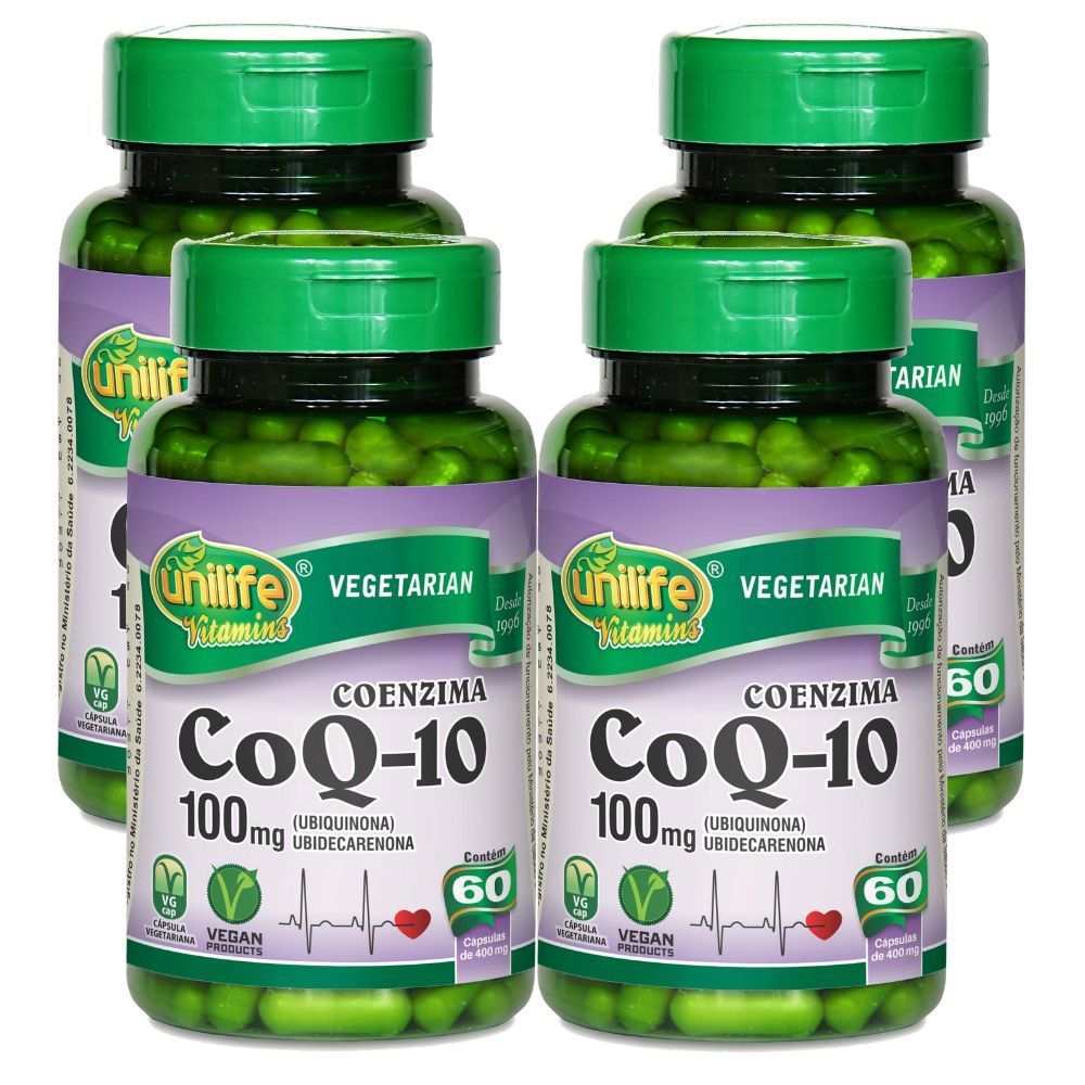 Kit 4 Coenzima Q10 100 Mg 60 Cápsulas Unilife