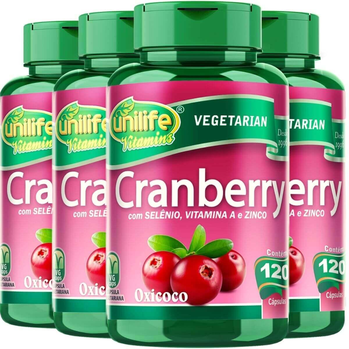 Kit 4 Cranberry Antioxidante Unilife - 500mg 120 Cápsulas