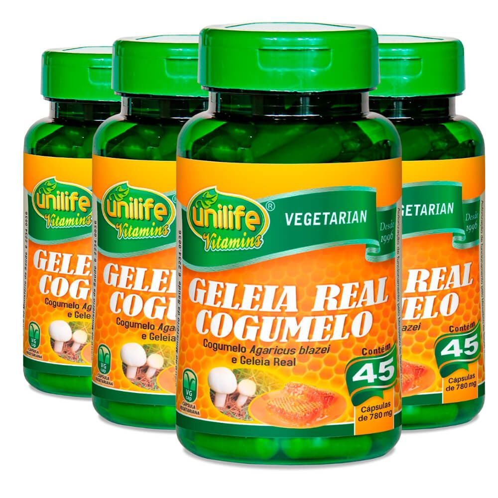 Kit 4 Geleia Real Cogumelo Unilife - 45 Cápsulas 780 mg