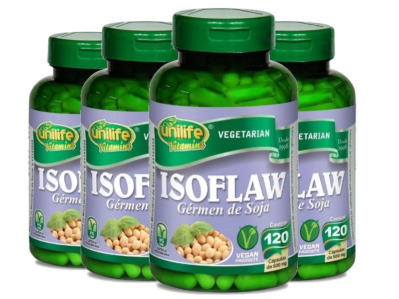 Kit 4 Isoflaw Gérmen de Soja Unilife - 500mg 120 Cápsulas