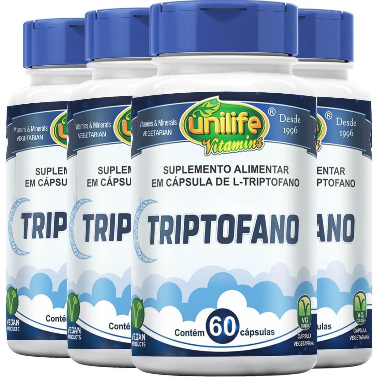 Kit 4 L-Triptofano 300mg 60 Cápsulas - Unilife