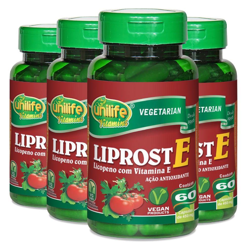Kit 4 Liprost E - Licopeno C/ Vitamina E - Unilife 60 Cáps