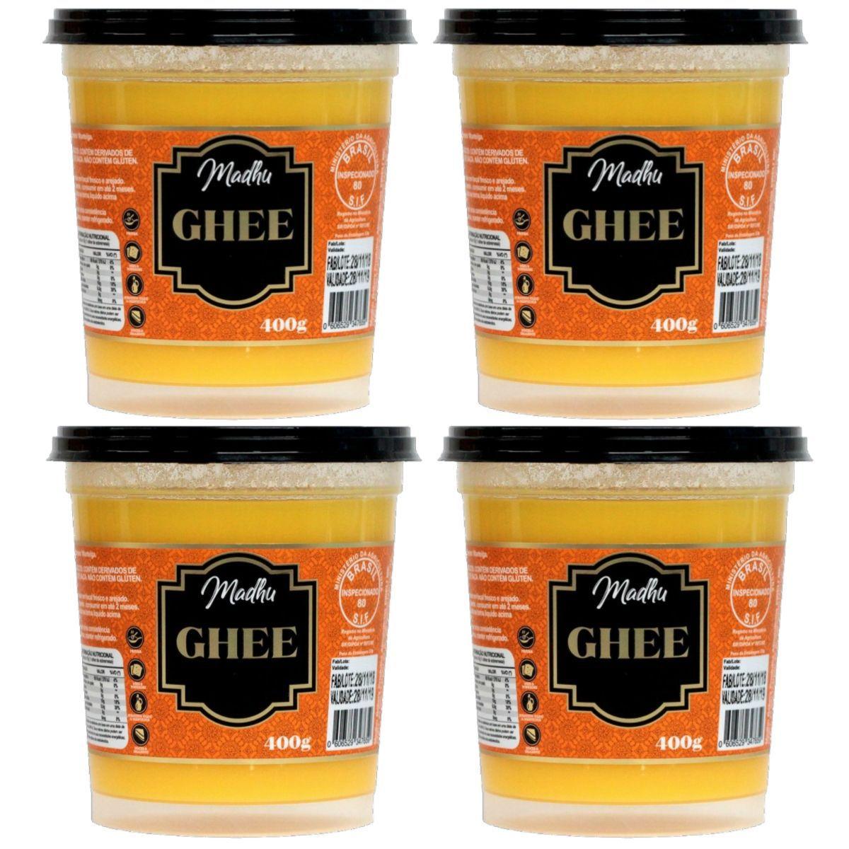 Kit 4 Manteigas Ghee 400g Tradicional Clarificada Zero Lactose - Madhu