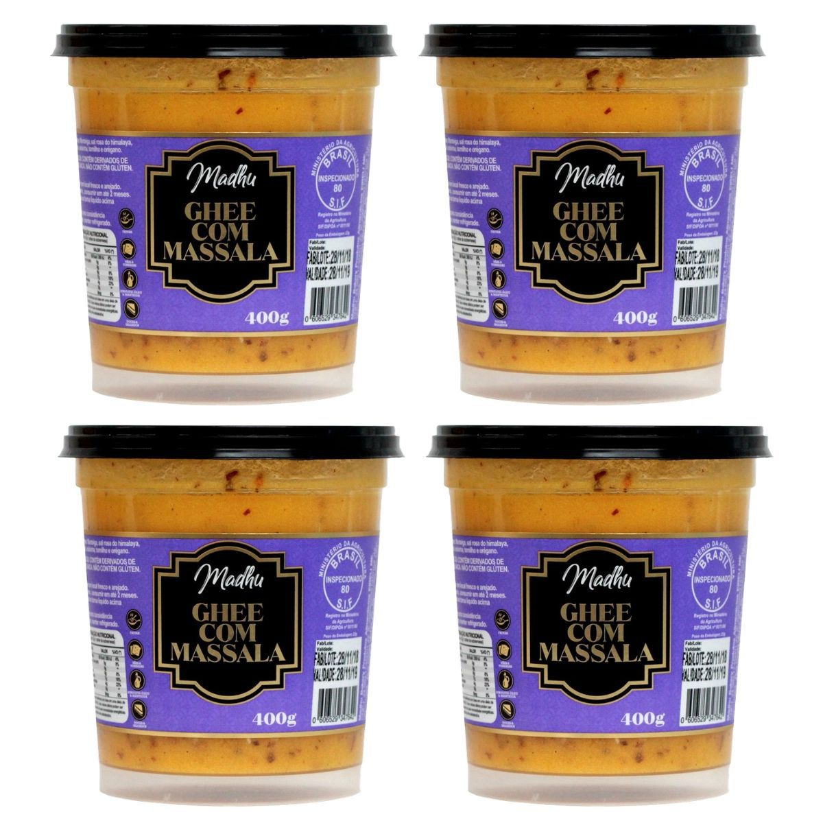 Kit 4 Manteigas Ghee C/ Massala Clarificada 400mg - Madhu Bakery