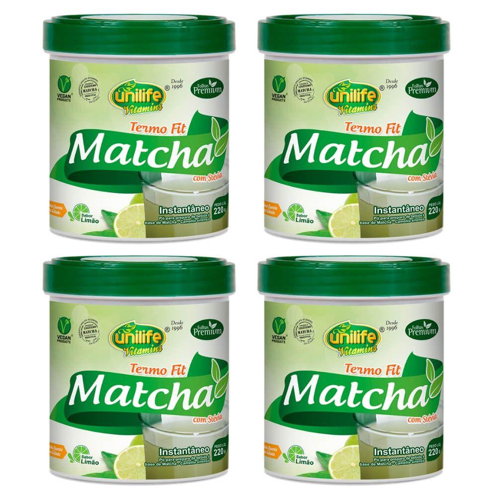Kit 4 Matcha Instantâneo C/ Stévia Termo Fit Unilife - 220g Sabor: Limão